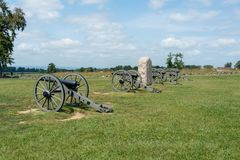 Артиллерия гражданской войны на Gettysburg стоковые фотографии rf