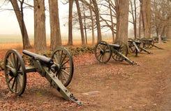 Артиллерия на семинаре Ридже в парке Gettysburg национальном воинском Стоковая Фотография RF
