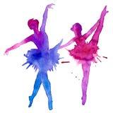 Артисти балета танцоры белизна изолированная предпосылкой изображение иллюстрации летания клюва декоративное своя бумажная акваре иллюстрация вектора