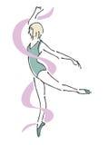 Артист балета с лентой Стоковое Изображение