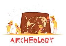 Археологическая иллюстрация скелета динозавра раскопок Стоковые Фотографии RF