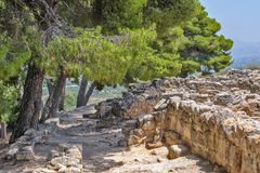 Археологические раскопки дворца Phaistos на Крите Стоковая Фотография