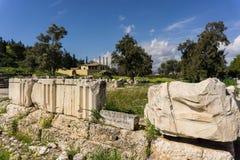 Археологические раскопки Eleusis Eleusina в Attica Греции Висок и алтары propylaia Artemis богини и Pater Poseidon стоковые изображения rf