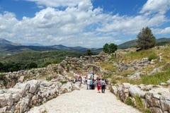 Археологические раскопки Mycenae, Греции стоковая фотография rf