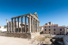 Археологический памятник Мерида Испания виска Дианы взгляда Стоковые Фотографии RF