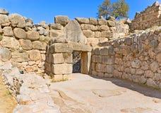 археологическое место peloponnese mycenae льва Греции строба стоковая фотография rf