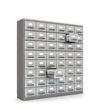 архивохранилищем опиловка шкафа предпосылки изолированная над белизной illu 3d Стоковые Изображения RF