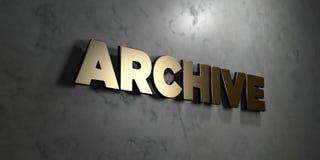 Архив - знак золота установленный на лоснистой мраморной стене - 3D представил иллюстрацию неизрасходованного запаса королевской  иллюстрация штока
