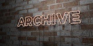 АРХИВ - Накаляя неоновая вывеска на стене каменной кладки - 3D представило иллюстрацию неизрасходованного запаса королевской влас иллюстрация вектора