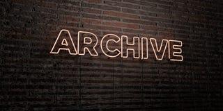 АРХИВ - реалистическая неоновая вывеска на предпосылке кирпичной стены - представленное 3D изображение неизрасходованного запаса  бесплатная иллюстрация