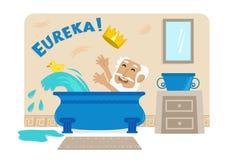 Архимед в ванне иллюстрация штока
