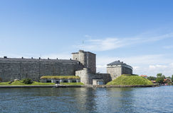 Архипелаг Стокгольма крепости Vaxholm стоковое фото rf