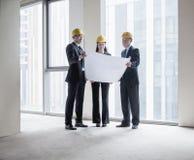 3 архитектора в защитных шлемах рассматривая светокопию в офисном здании Стоковое фото RF