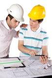 2 архитектора используя таблетку цифров Стоковые Изображения