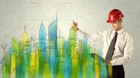 Архитектор дела делая эскиз к городскому пейзажу Стоковая Фотография