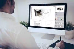 архитектор дизайнера графической таблетки Стоковое Изображение