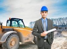 Архитектор на работе в строительной площадке Стоковое Фото