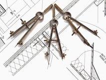архитектор планирует инструменты s Стоковое Фото