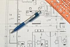 архитектор планирует крены Стоковое Изображение