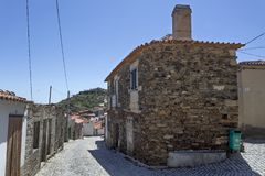 Архитектура дома сланца и гранита Castelo Melhor Стоковые Фото