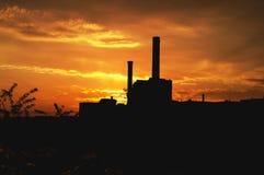Архитектура захода солнца современная в Франкфурте-на-Майне Стоковая Фотография RF