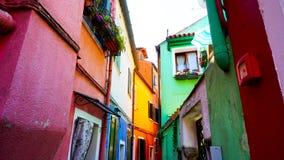 Архитектура здания Burano красочная в переулке Стоковое Фото