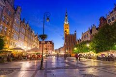 Архитектура длинной майны в Гданьске на ноче Стоковые Фото