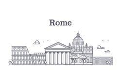 Архитектура Италии Рима, собрание вектора горизонта Европы линейное Стоковая Фотография RF