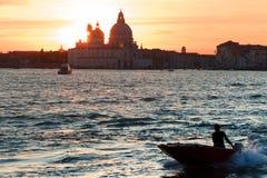 Архитектура и ориентир ориентиры Венеции Заход солнца Стоковое Изображение RF