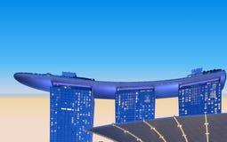 Архитектура и scyscrapers Сингапура современные абстрактные против облачного неба стоковые изображения
