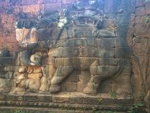 Архитектура Камбоджи Барельеф Сразите с слонами вдоль террасы слонов Стена высекая в Angkor Thom Стоковые Фото