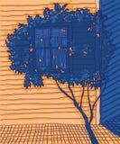 Архитектура нарисованная рукой с освещением контраста Стоковые Фотографии RF
