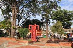 Архитектура на главном парке, ³ JericÃ, Antioquia, Колумбии Стоковое фото RF