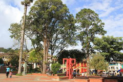 Архитектура на главном парке, ³ JericÃ, Antioquia, Колумбии Стоковая Фотография RF