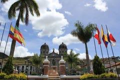 Архитектура на главном парке, ³ n ConcepciÃ, Antioquia, Колумбии Стоковые Фото