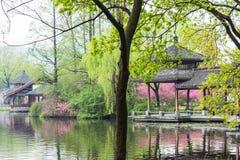 Архитектура сада и цветение персика Стоковое Фото