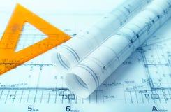Архитектура свертывает архитектора проекта архитектурноакустических планов Стоковая Фотография RF