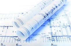 Архитектура свертывает архитектора проекта архитектурноакустических планов Стоковая Фотография