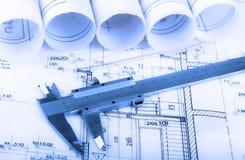 Архитектура свертывает архитектора проекта архитектурноакустических планов Стоковое Изображение RF