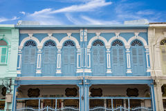 Архитектура стиля классических окон китайско-португальская на Пхукете Таиланде Стоковое Фото