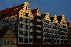 Архитектура традиционных зданий в Гданьске, Польше Стоковые Фотографии RF
