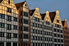 Архитектура традиционных зданий в Гданьске, Польше Стоковые Фото