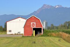 Архитектура фермы хобби и ландшафт горы Стоковая Фотография