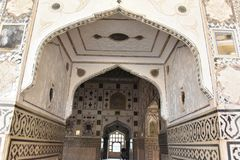 Архитектура форта Amer Rajput, Амбер, Джайпур, Раджастхан стоковое фото