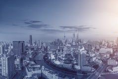 Архитектура Шанхая городская, горизонт стоковое фото rf