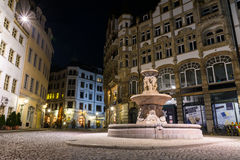 Архитектура d украшения фонтана Лейпцига Kleine Fleischergasse Стоковые Фото