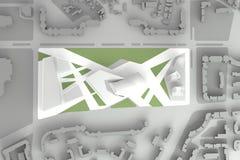 Архитектурноакустическая модель городского финансового центра города Стоковая Фотография RF