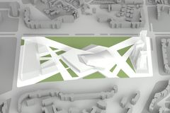 Архитектурноакустическая модель городского финансового центра города Стоковые Фото