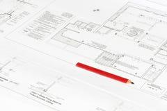 архитектурноакустическая печать плана карандаша craftmans Стоковые Фото