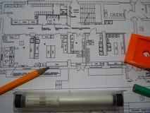 Архитектурноакустическая работа архитектора проектов, дизайн стоковое изображение